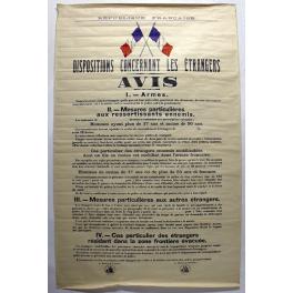 AFFICHE , AVIS aux ETRANGERS 1939 - 40